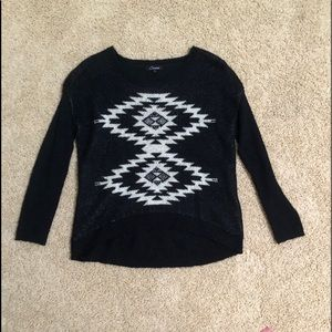 Oversized Black Sweater, White Geometric Design